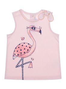 Girl`s flamingo jersey tank top