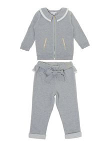 Girl`s fleece cardigan and jogging bottoms