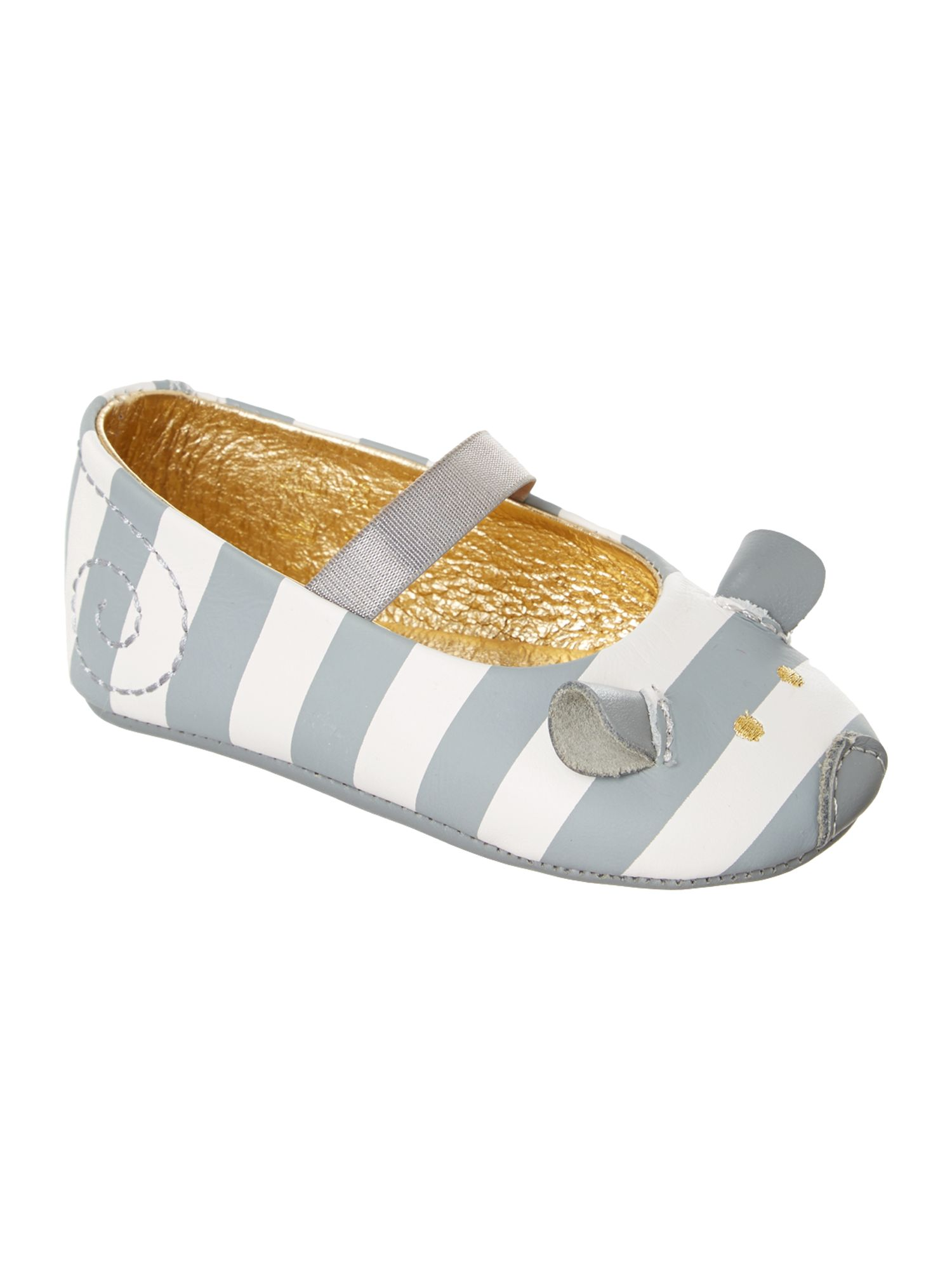 Girl`s Leather striped mouse ballerinas