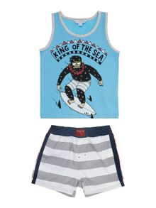 Boy`s jersey tank top and surfer shorts