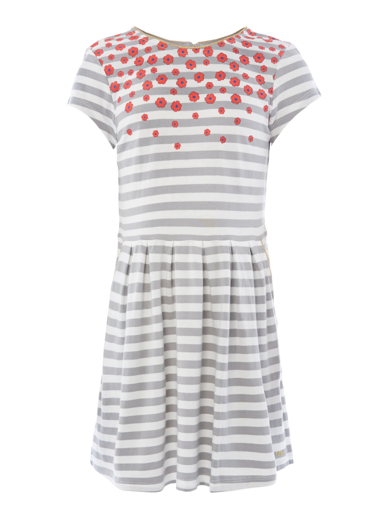 Girl`s stripe and flower short sleeve dress
