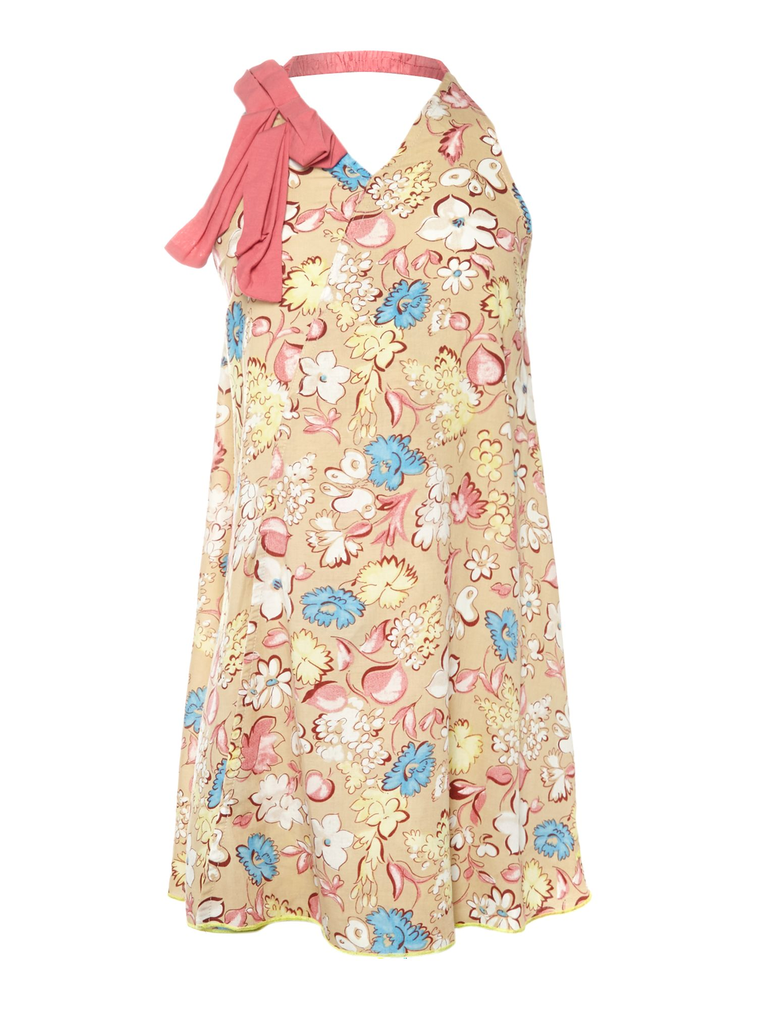 Girl`s floral print halterneck dress