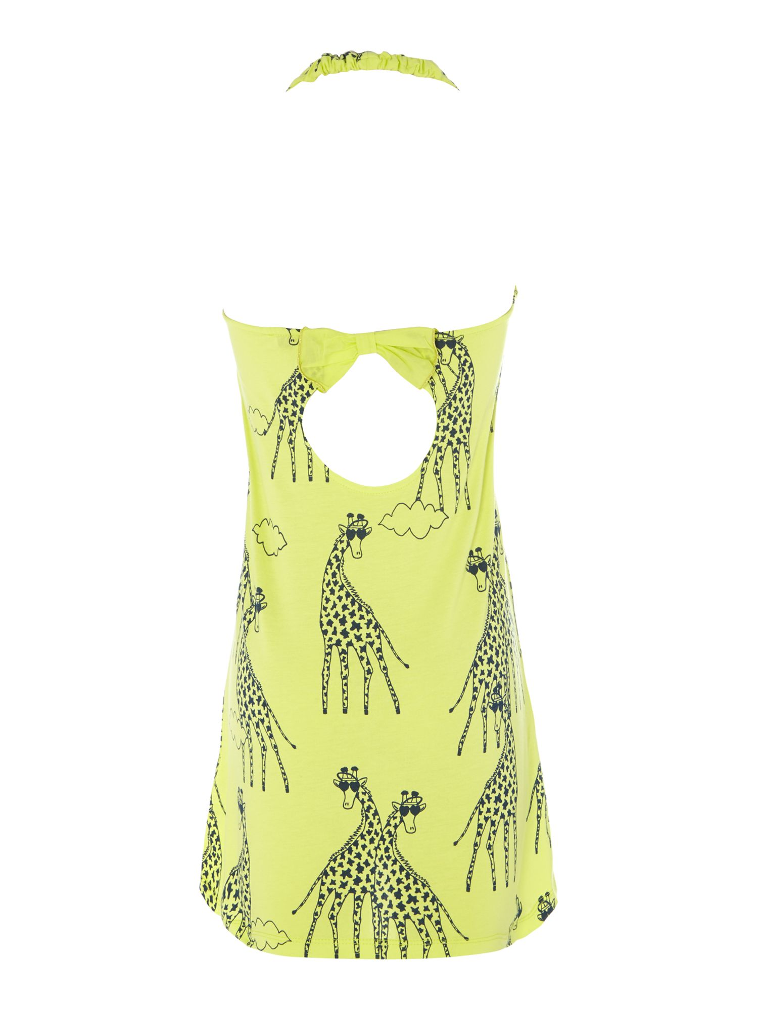 Girl`s giraffe print halterneck dress