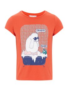 Girl`s poodle short sleeve t-shirt
