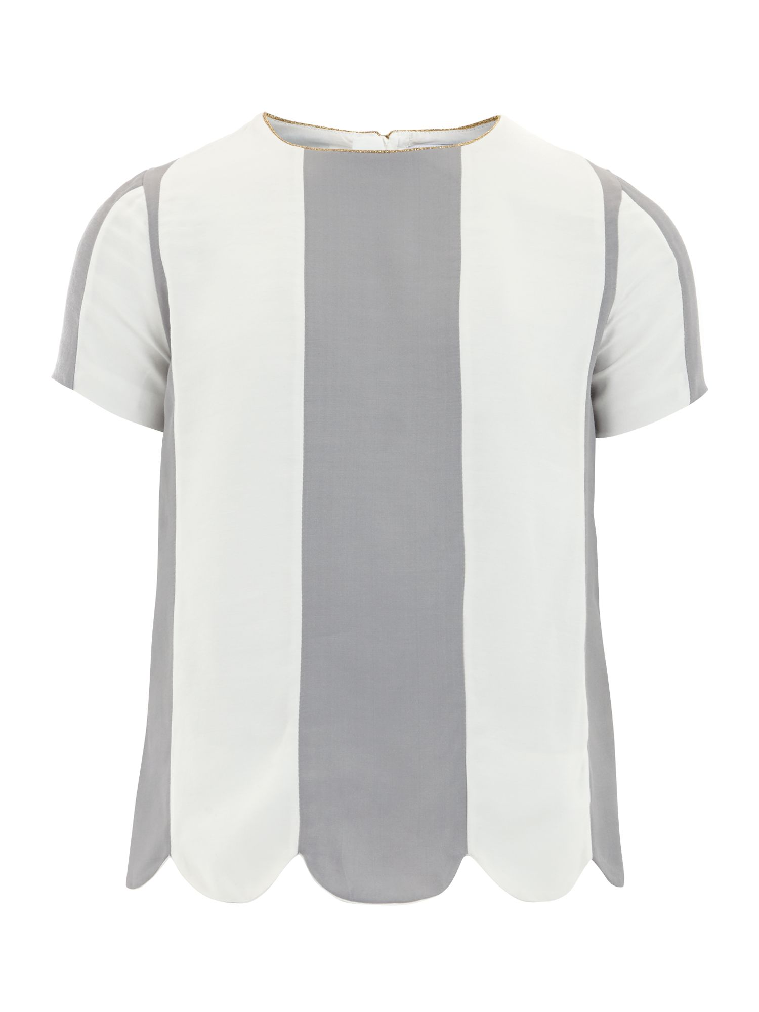 Girl`s striped twill short sleeve blouse