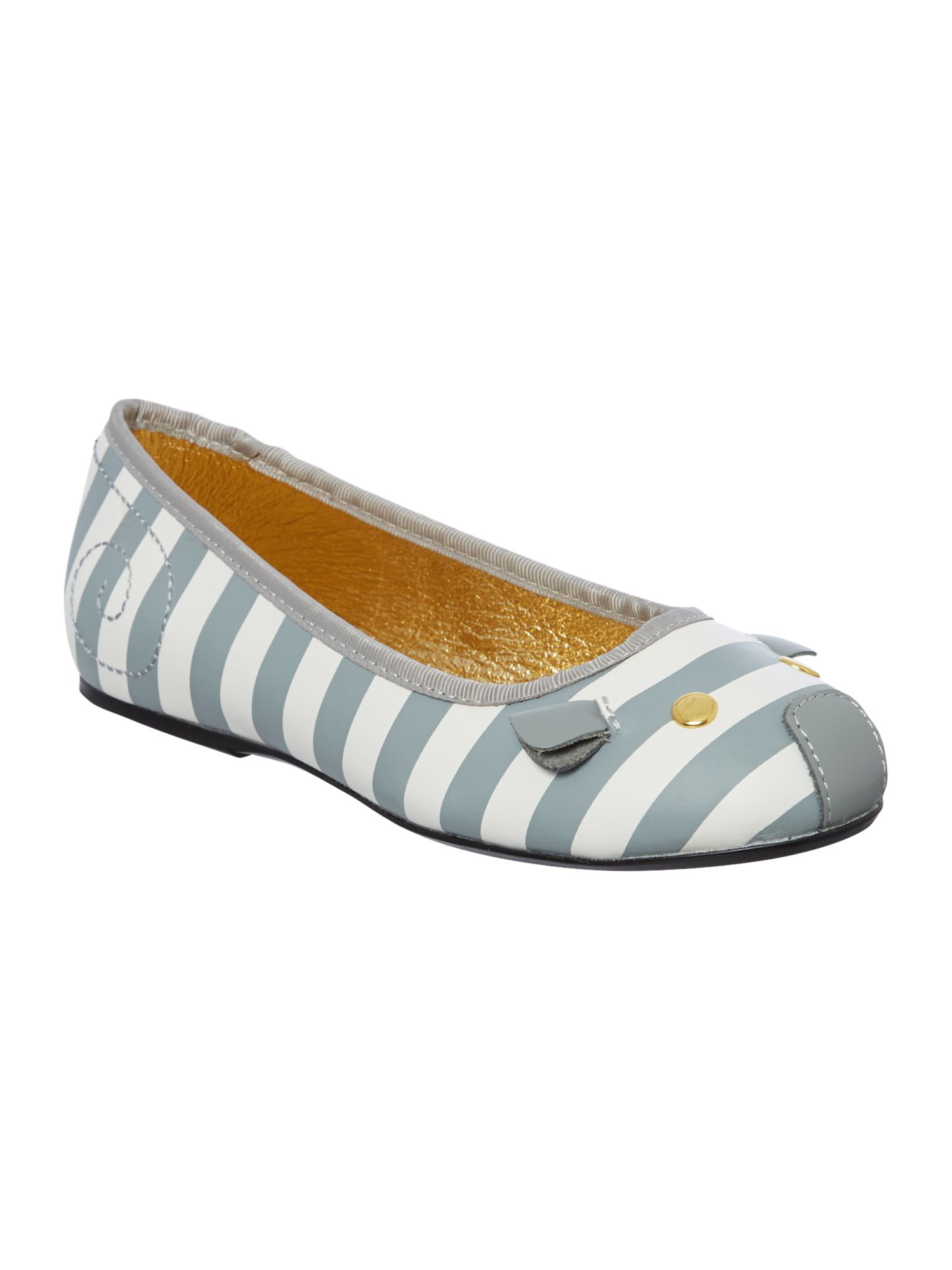 Girl`s leather striped mouse ballerina pumps