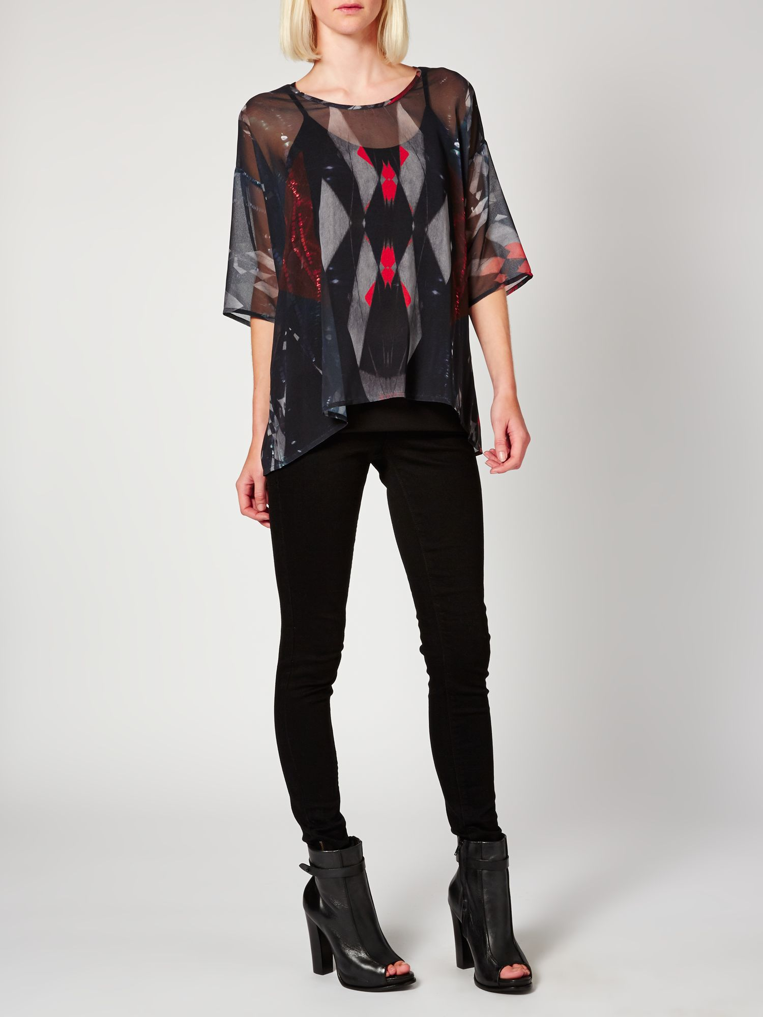 Graphic digi print woven top