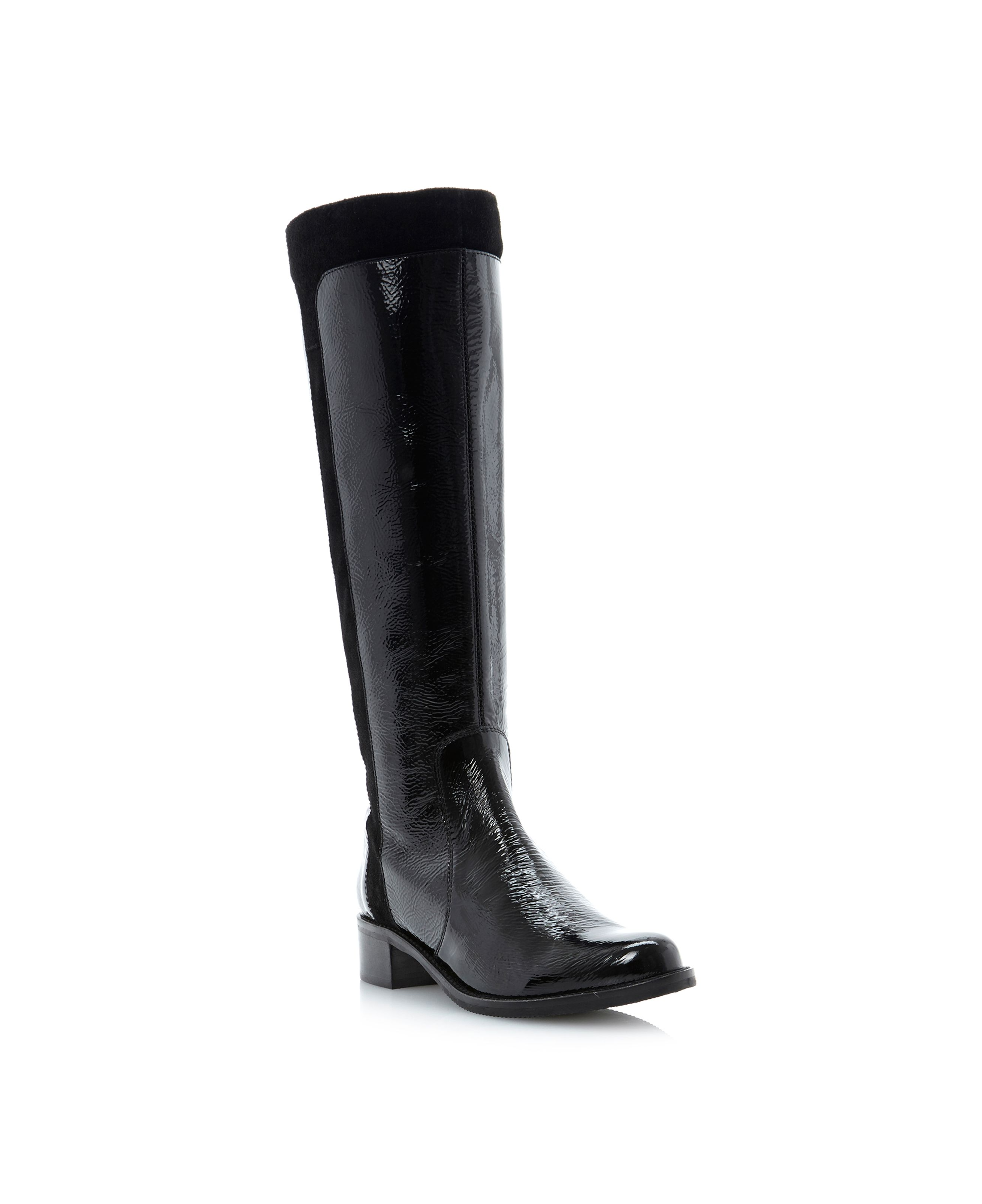 Trott double buckle mix material high boots