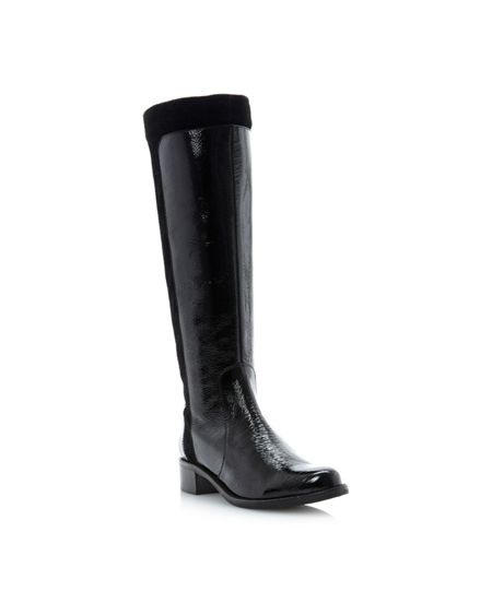 Dune Trott double buckle mix material high boots