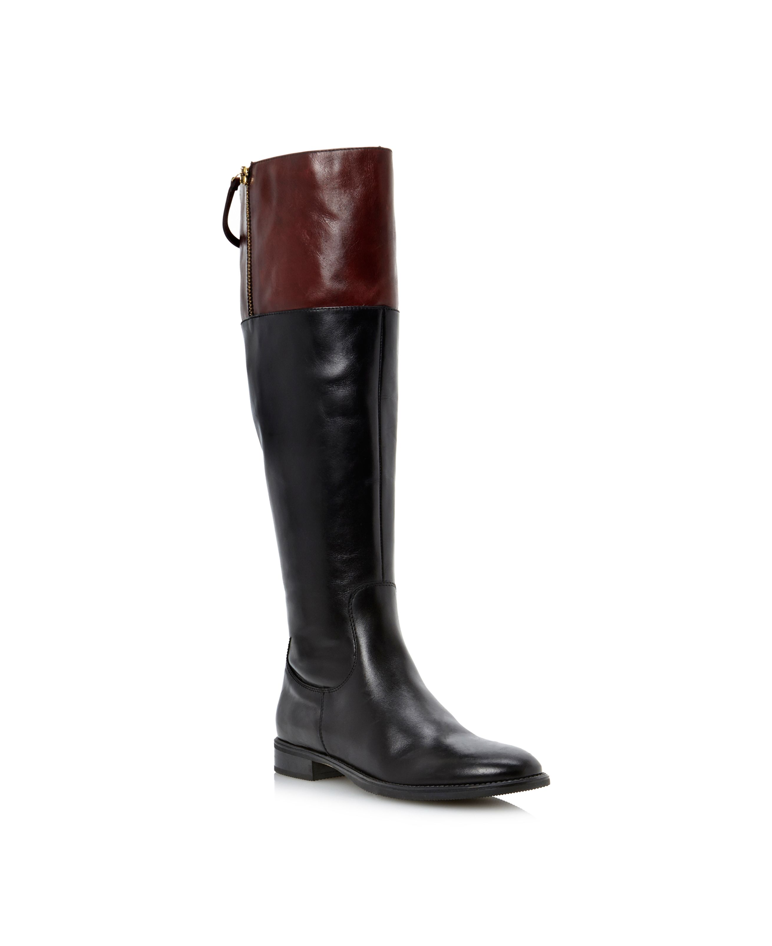 Tinteds contrast leather high boots
