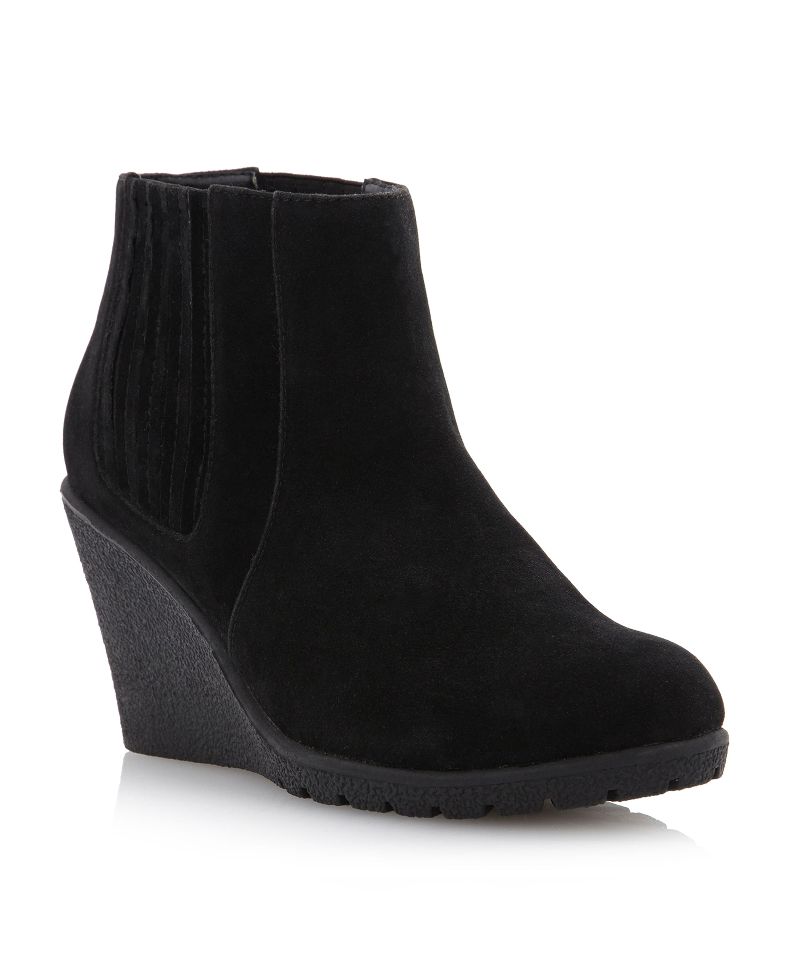 Pamplona side gusset crepe wedge boots