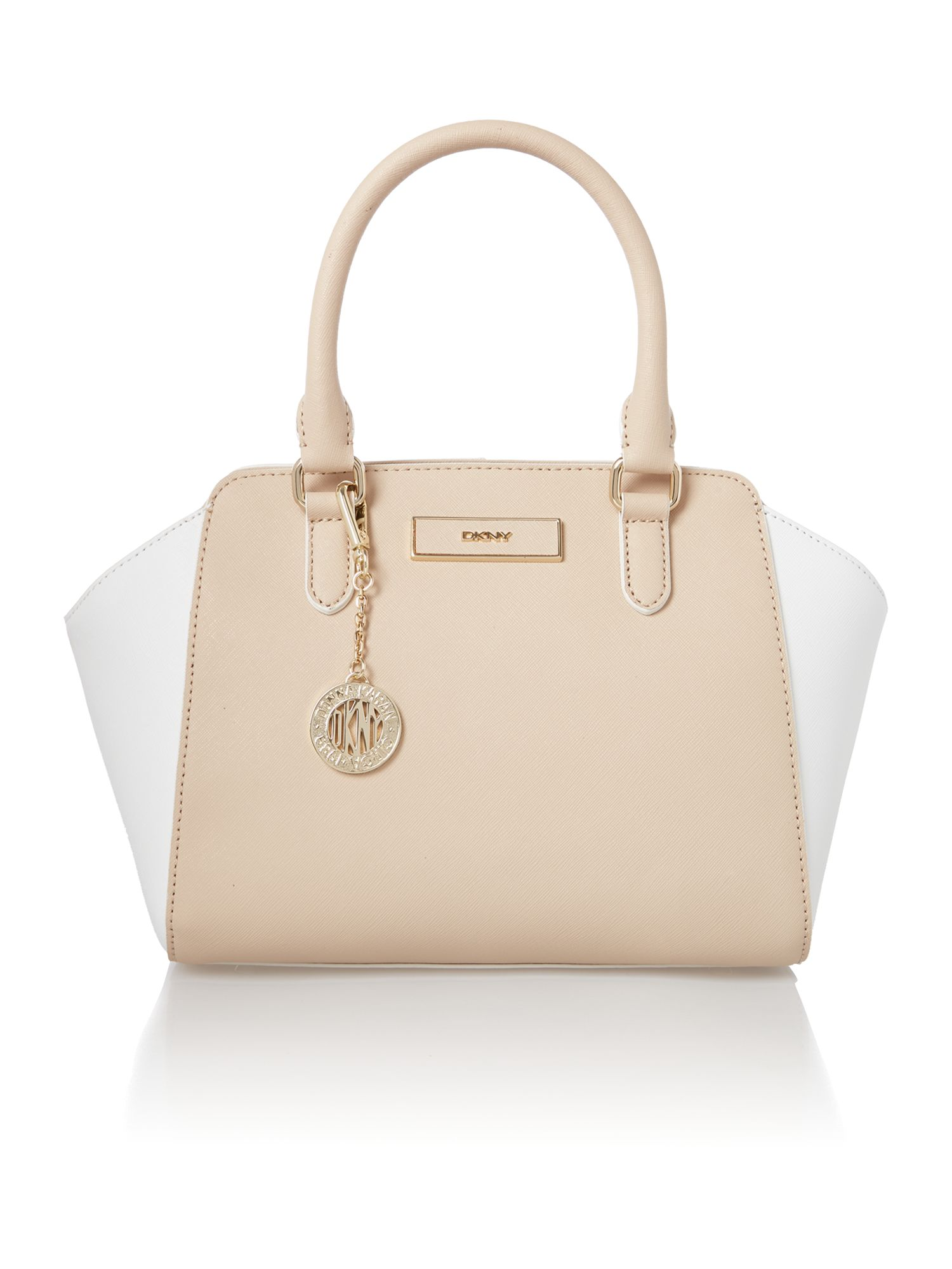 Saffiano neutral small tote bag