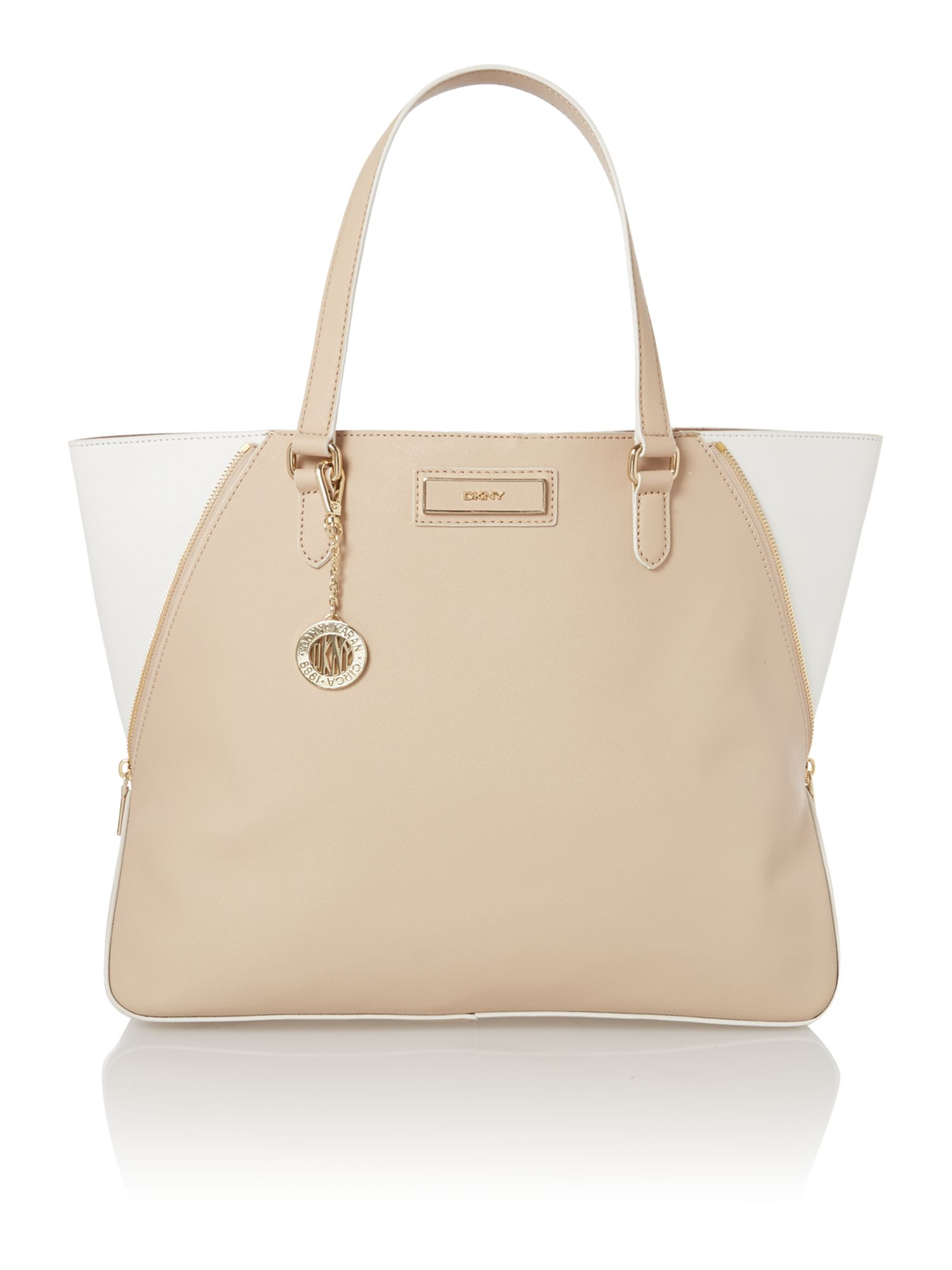 Saffiano neutral large tote bag