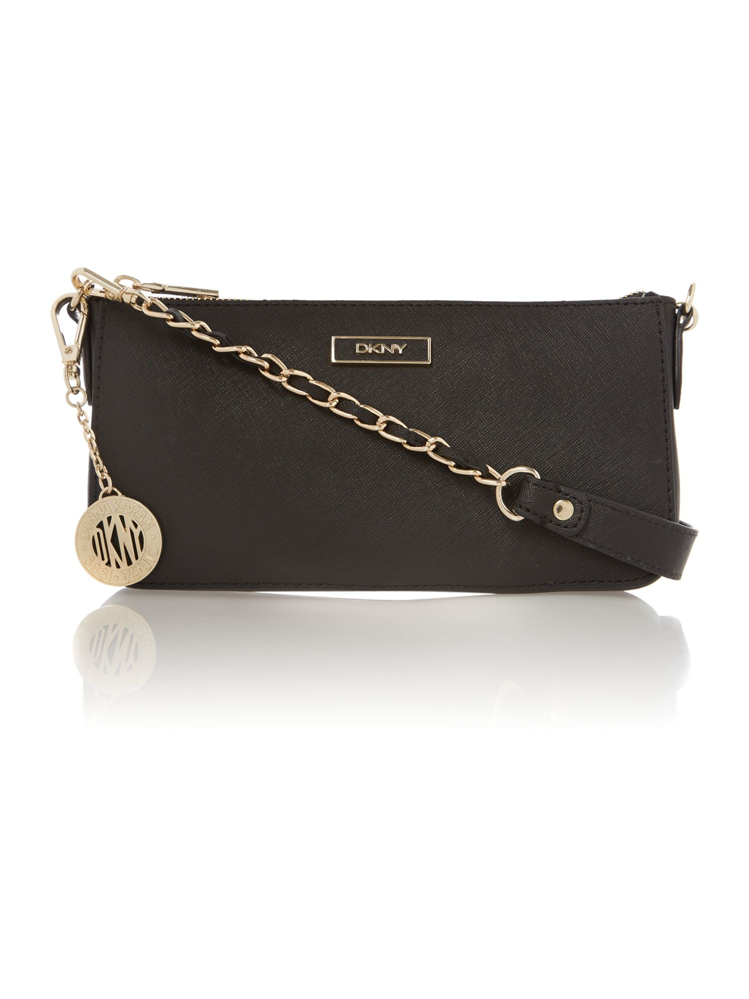 Saffiano black small shoulder bag