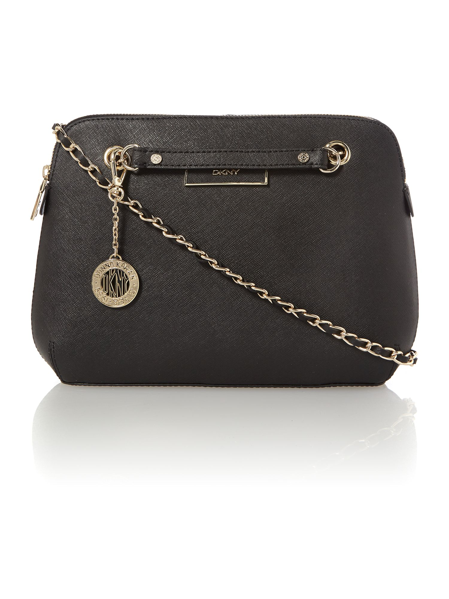 Saffiano black medium crossbody bag