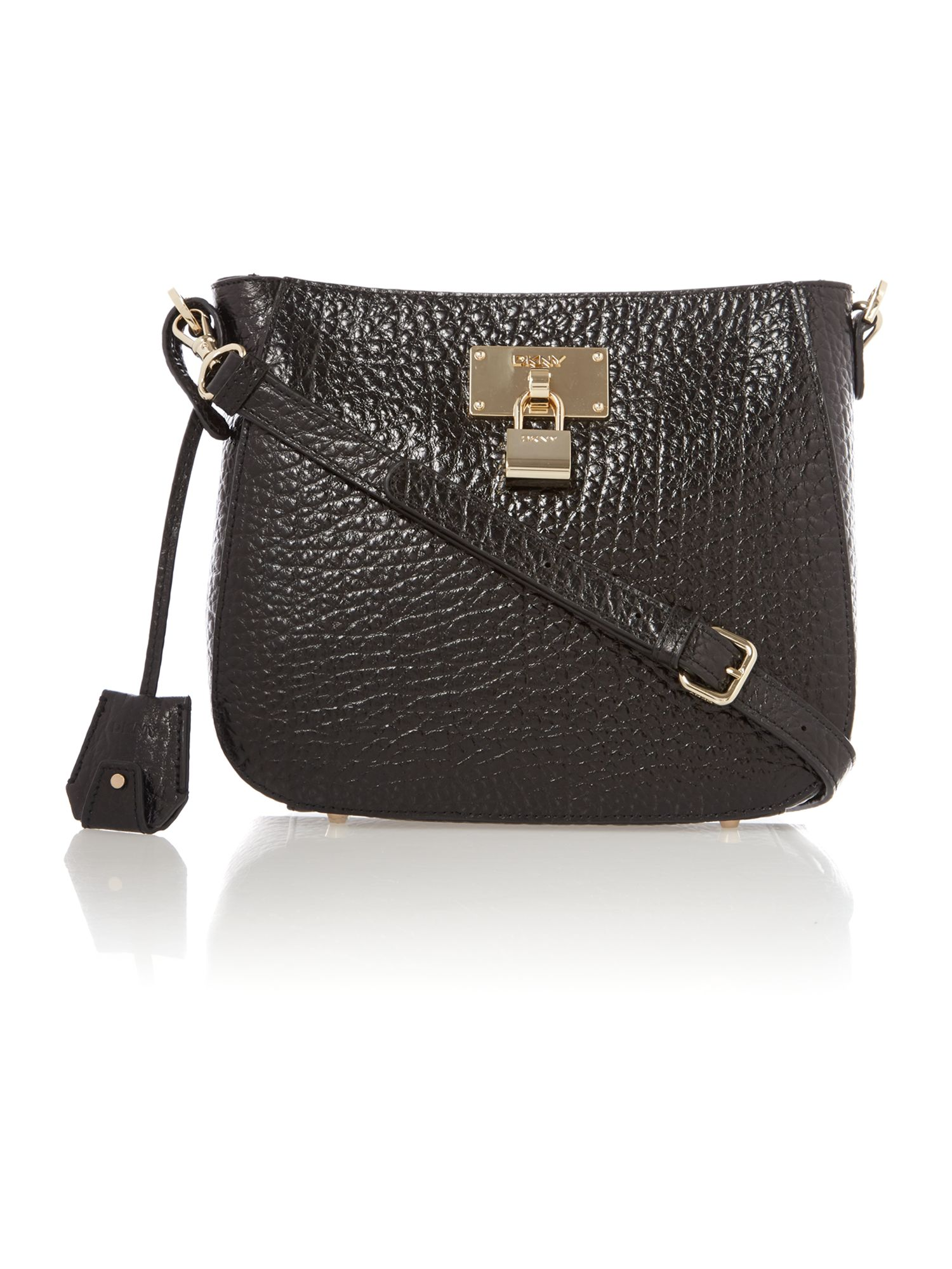 French grain black crossbody bag