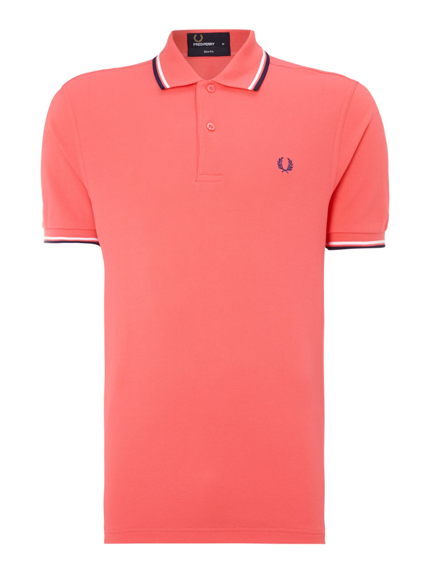Men&39s Fred Perry Twin tipped slim fit polo shirt Coral