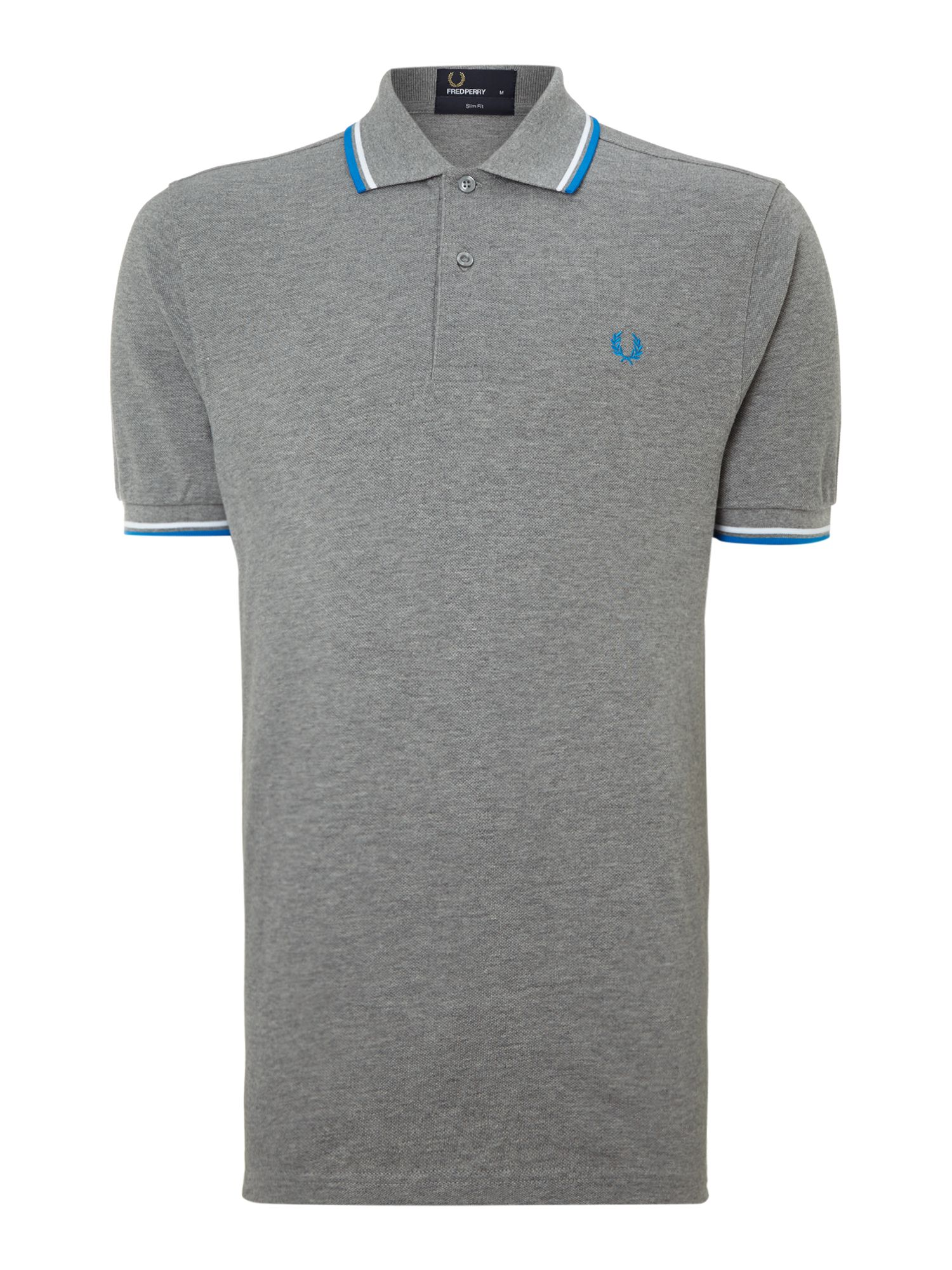 Men&39s Fred Perry Twin tipped slim fit polo shirt Steel