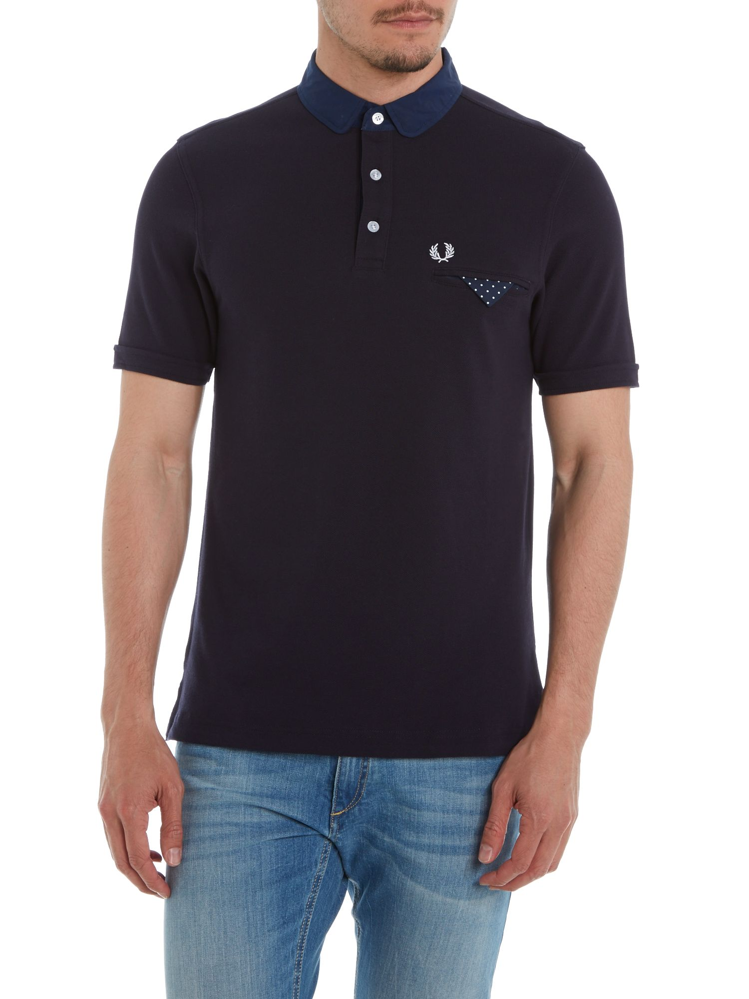 Jetted pocket penny collar polo
