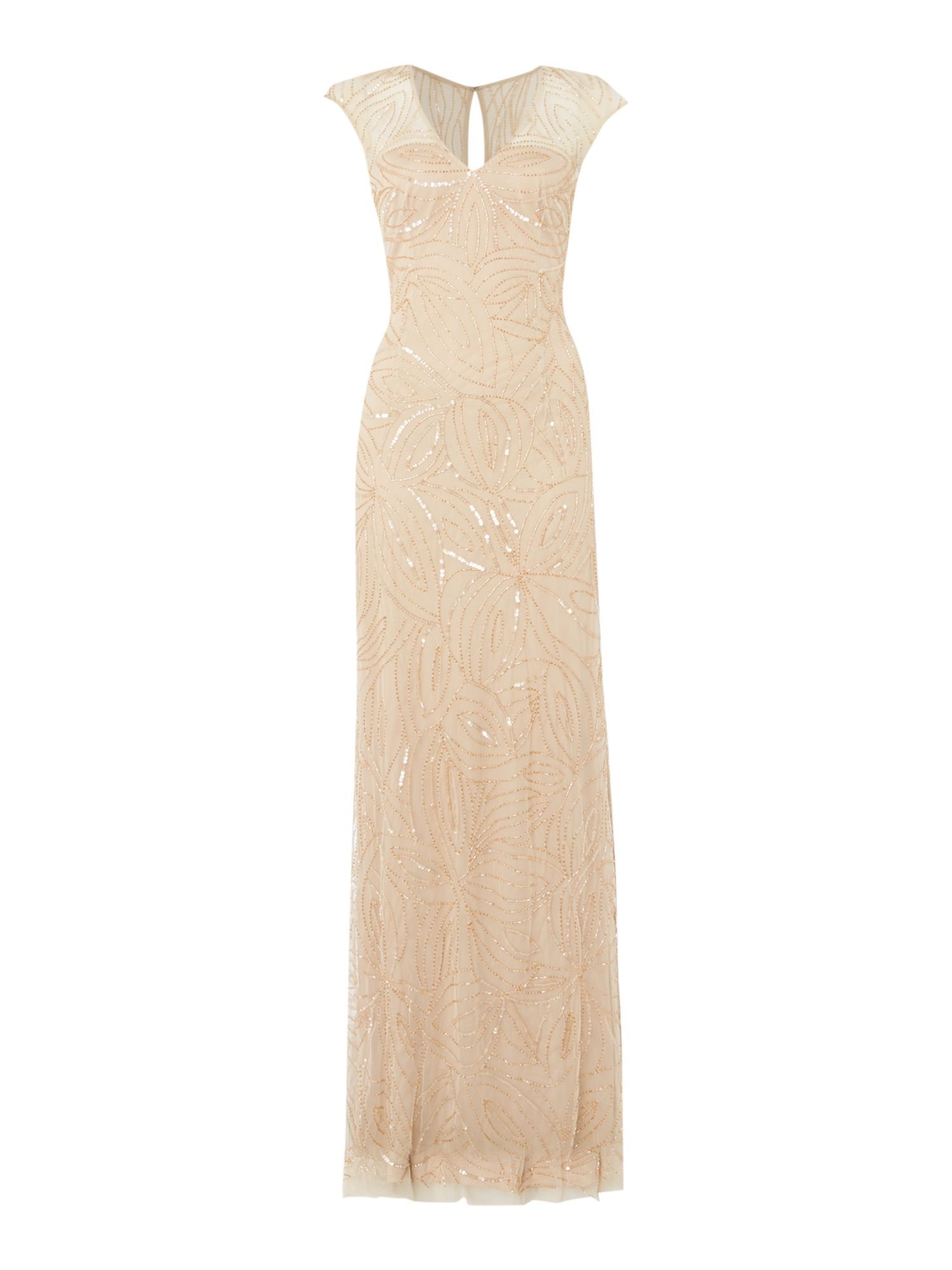 JS Collections Beaded cap sleeve dress, Gold