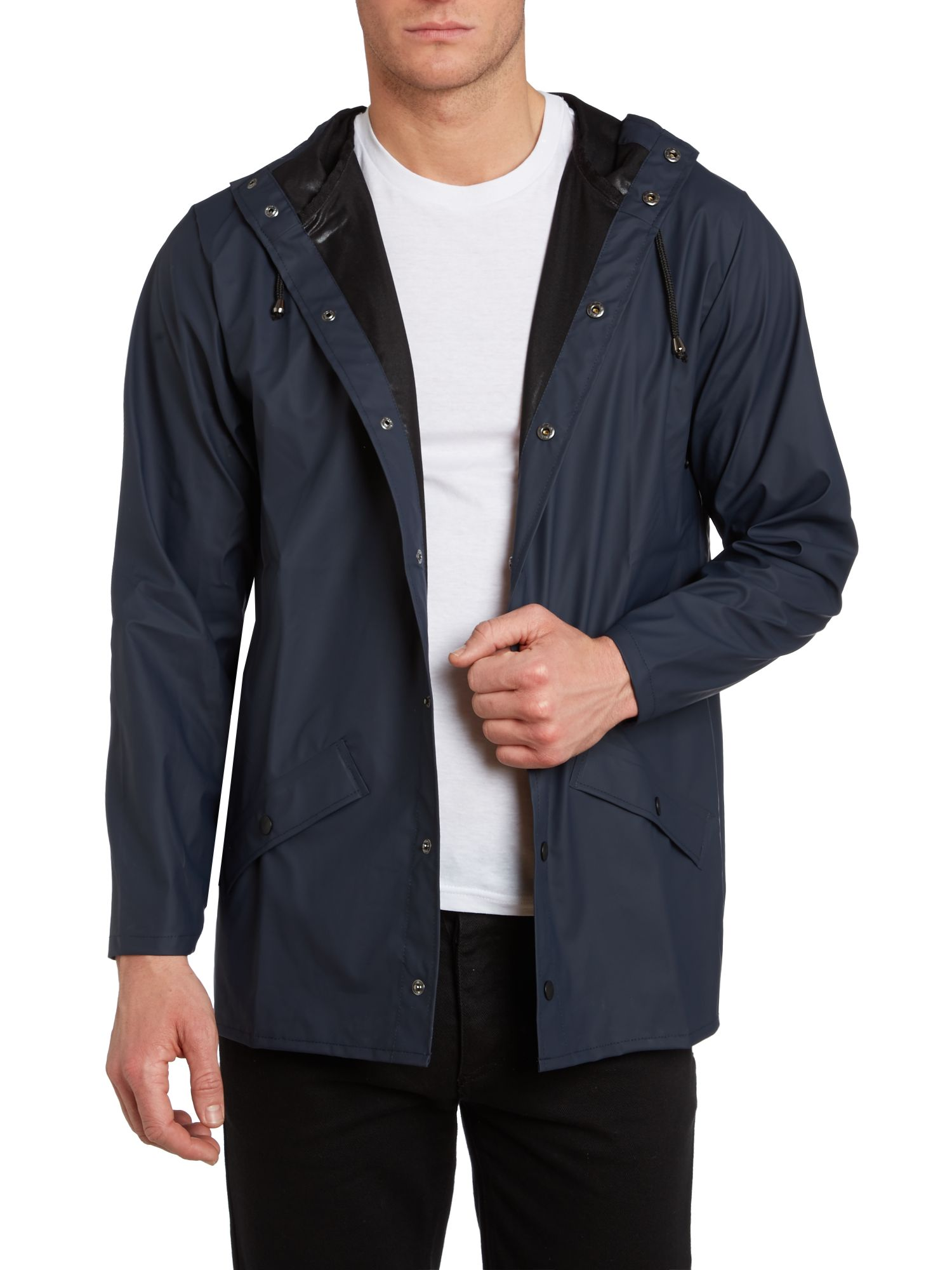 Two pocket button up toggle hooded rain mac