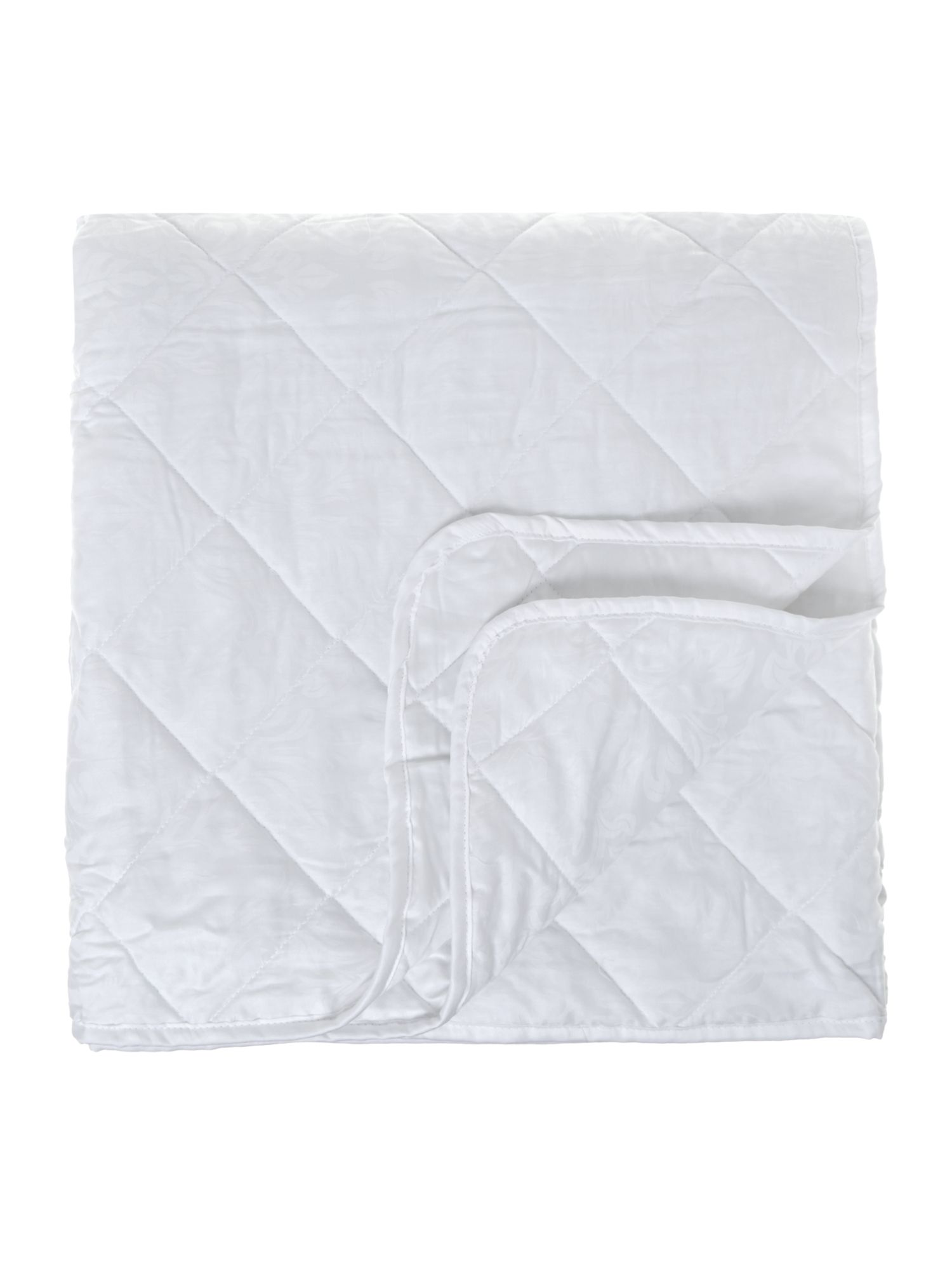 Damask quilted bedspread white