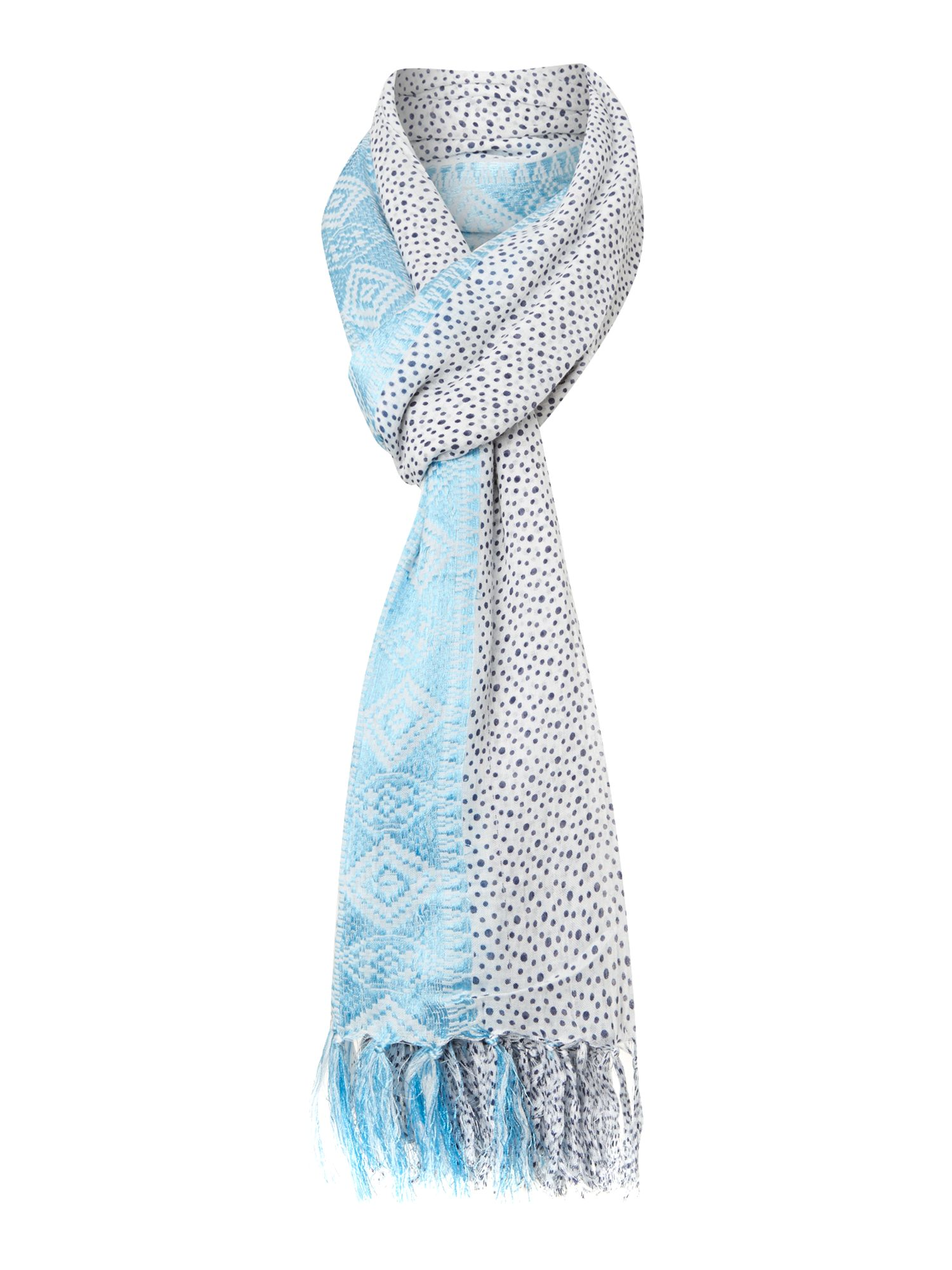 Spot scarf with jacquard border