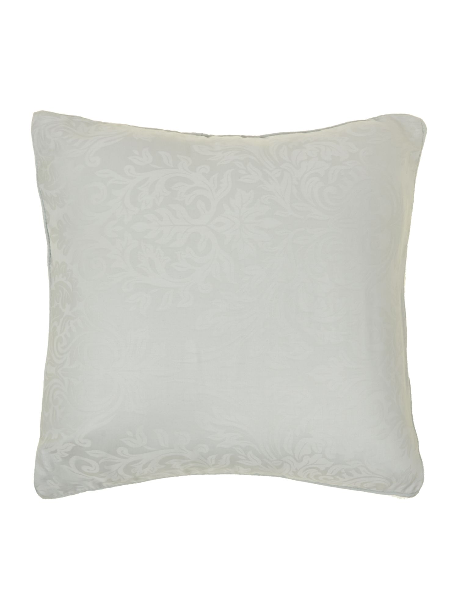 Damask pair of filled cushions soft blue