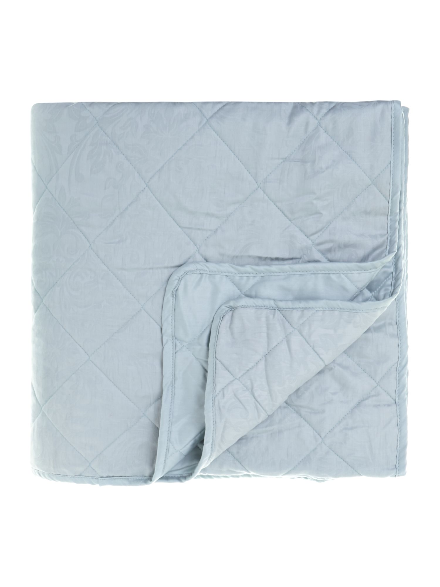 Lhc damask quilted bedspread soft blue