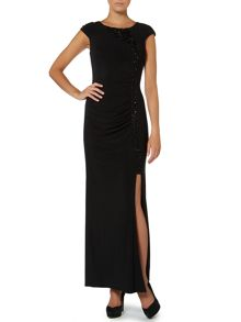 JS Collections Beaded Top Side Split Dress