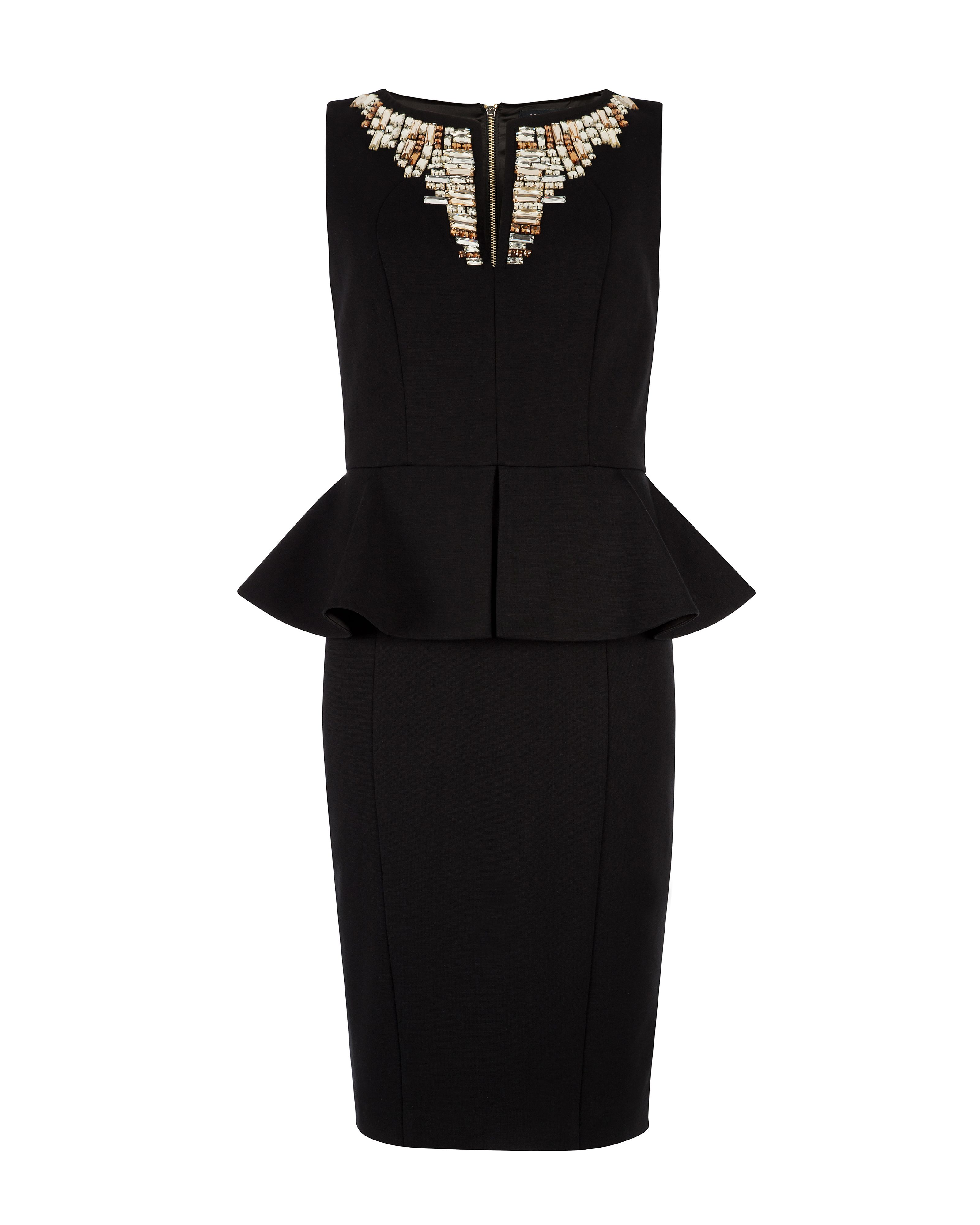 Fernola embellished neck dress