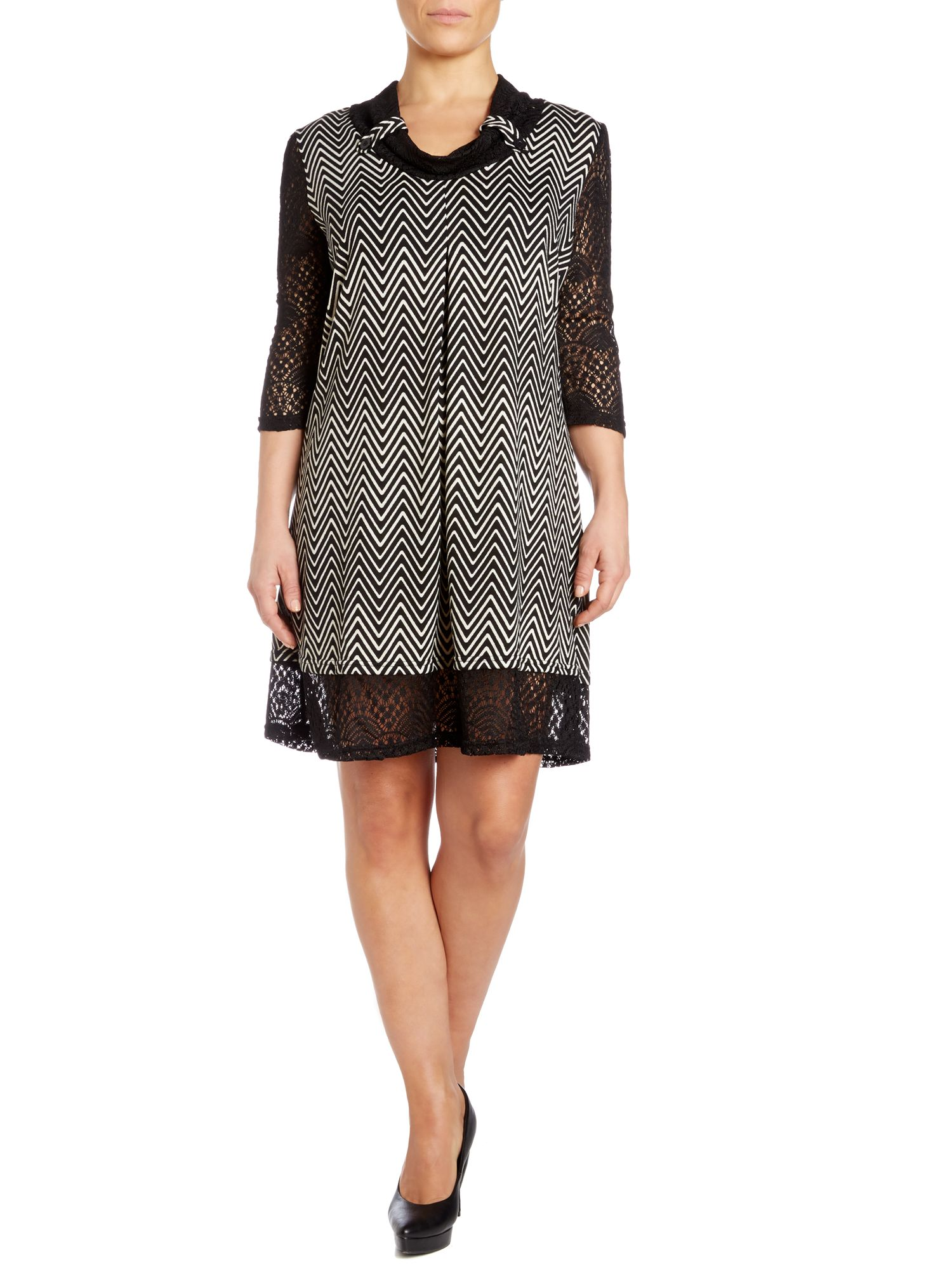Zigzag knit dress with lace panels