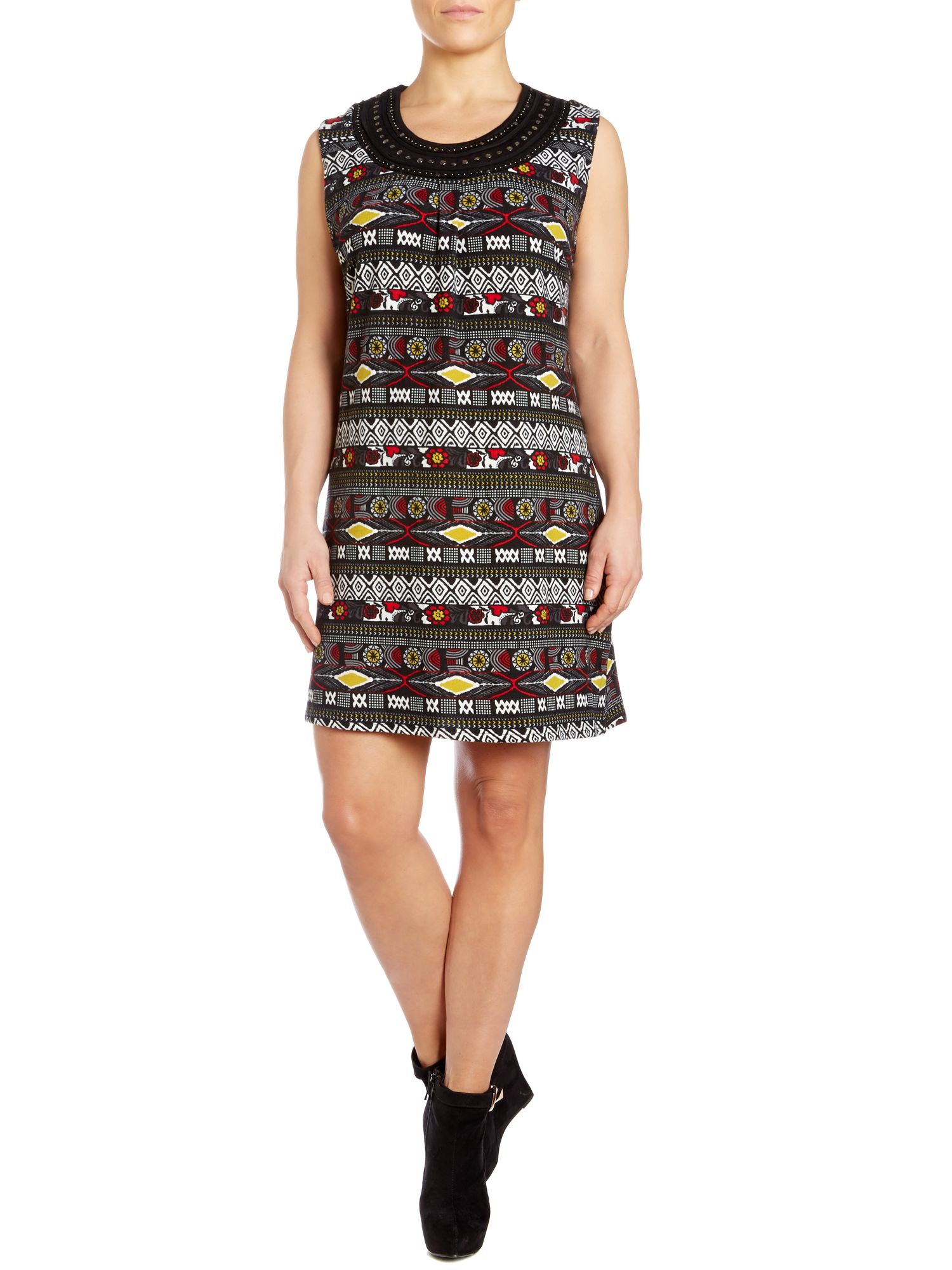 Embellished abstract owl print dress