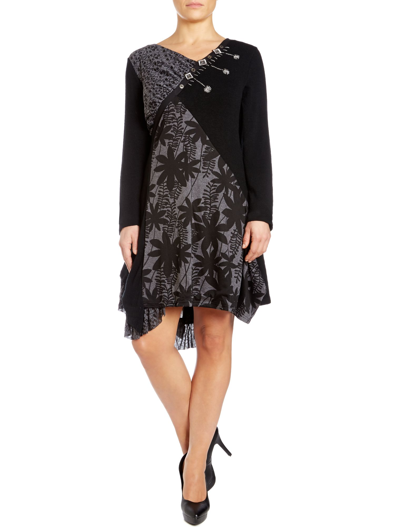 Handkerchief hem dress in patch print