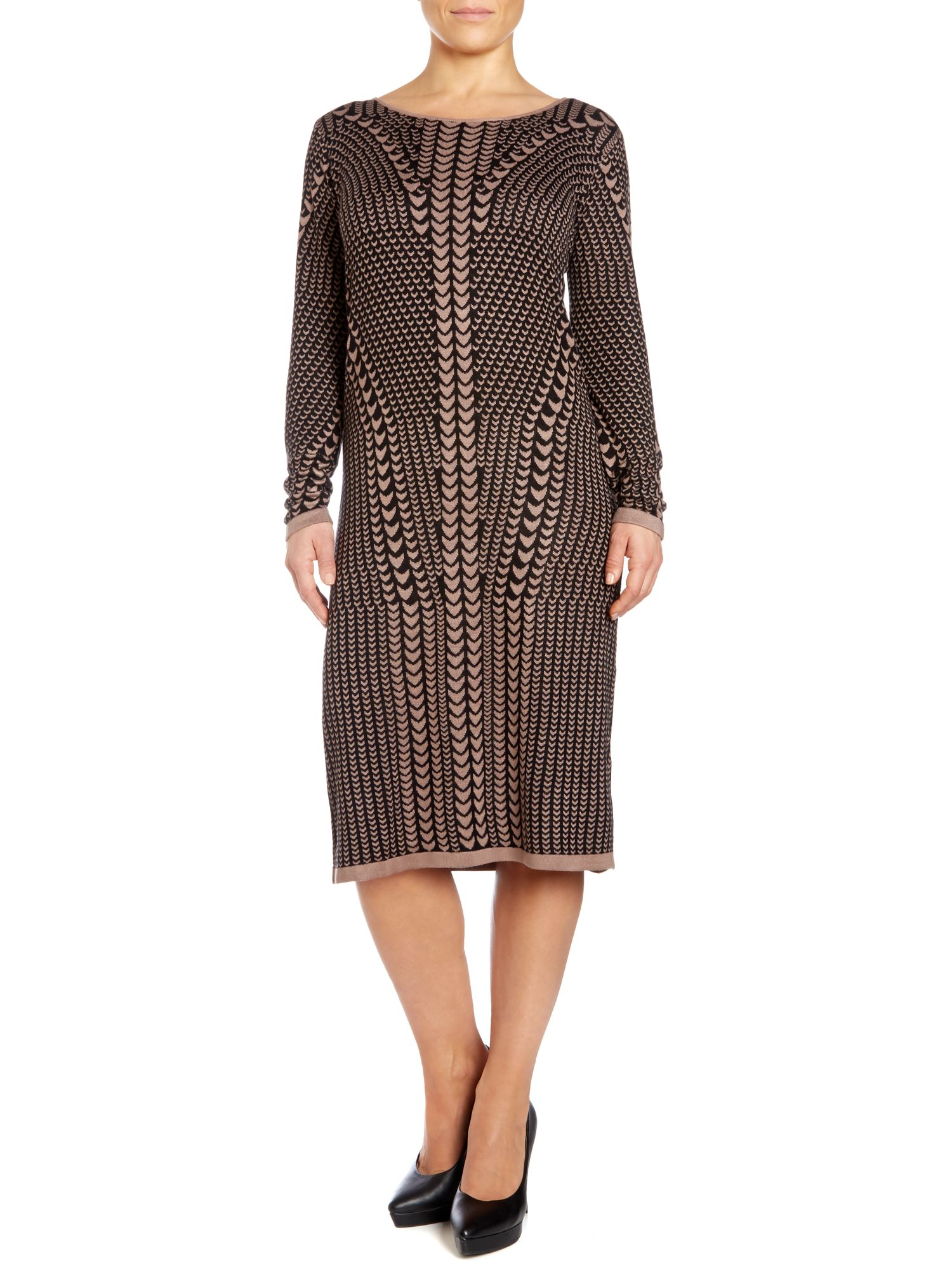 Art deco scallop print jumper dress