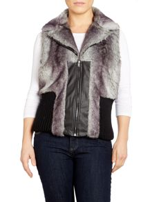 Faux Fur gilet with notched collar