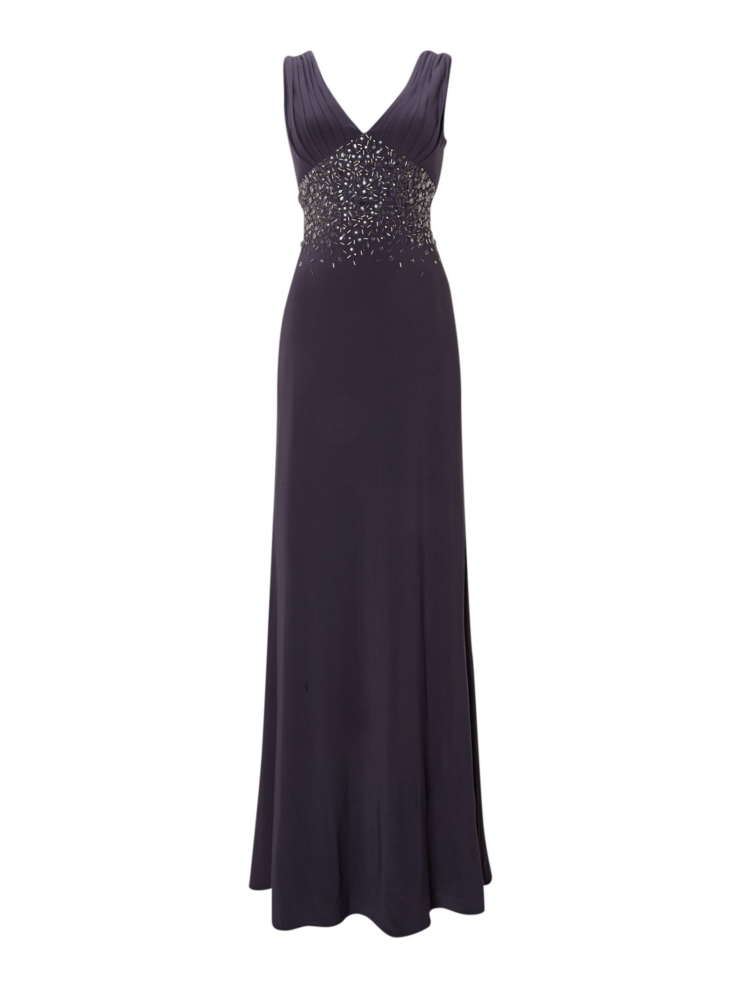 V Neck Jewel Waisted Gown