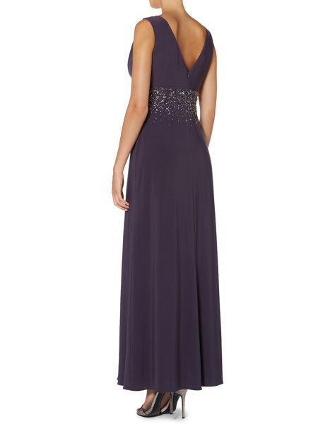 JS Collections V Neck Jewel Waisted Gown