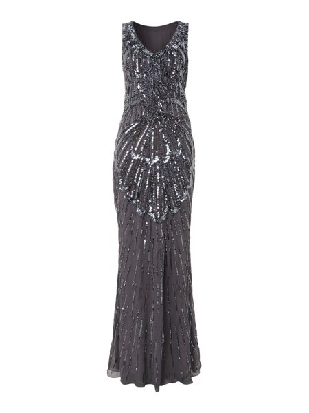 JS Collections Fan sequin dress