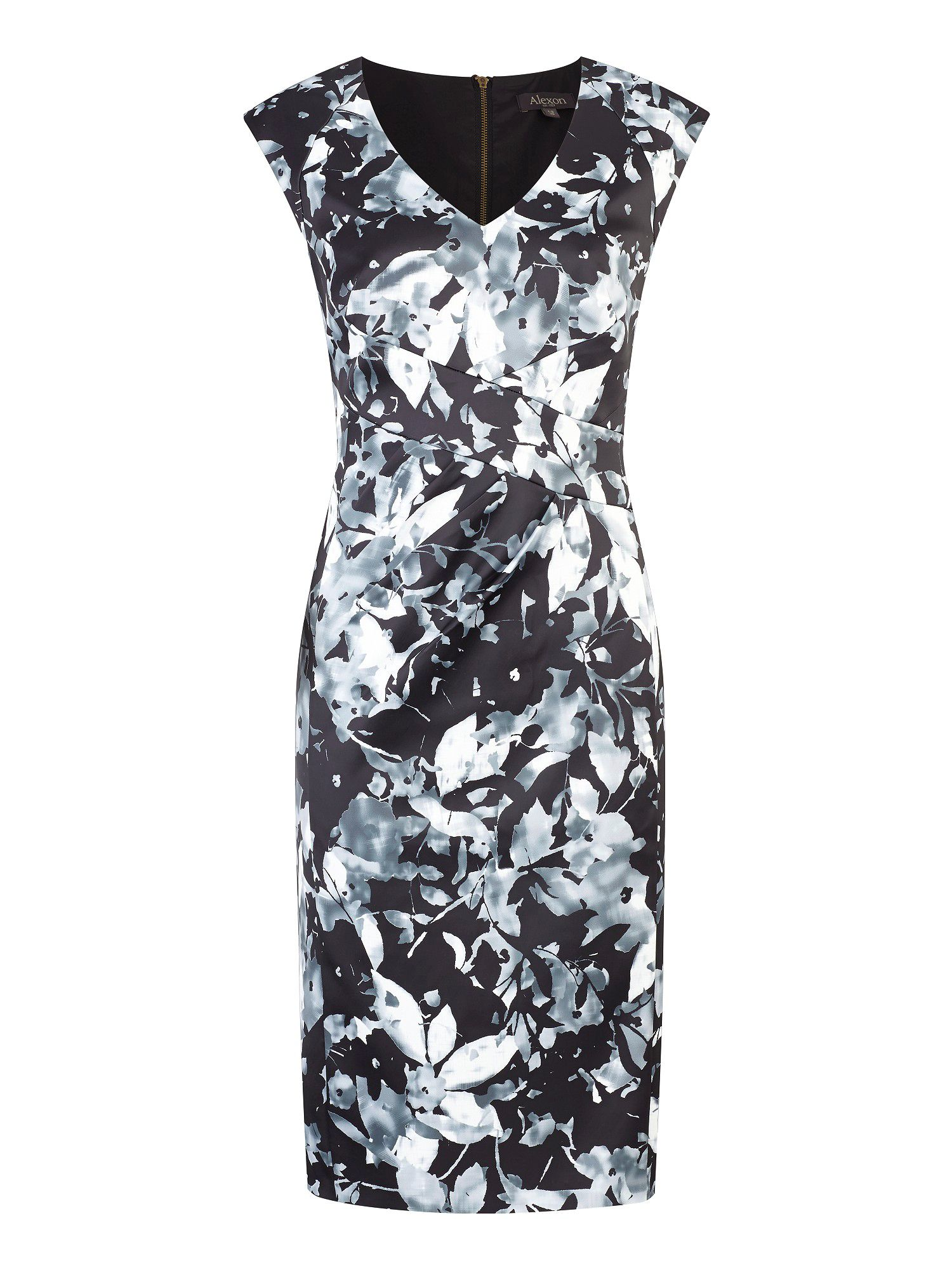 Monochrome sateen print dress
