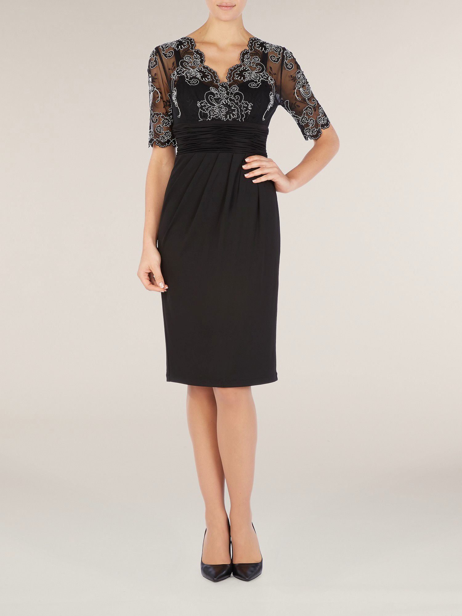 Lace detail jersey dress