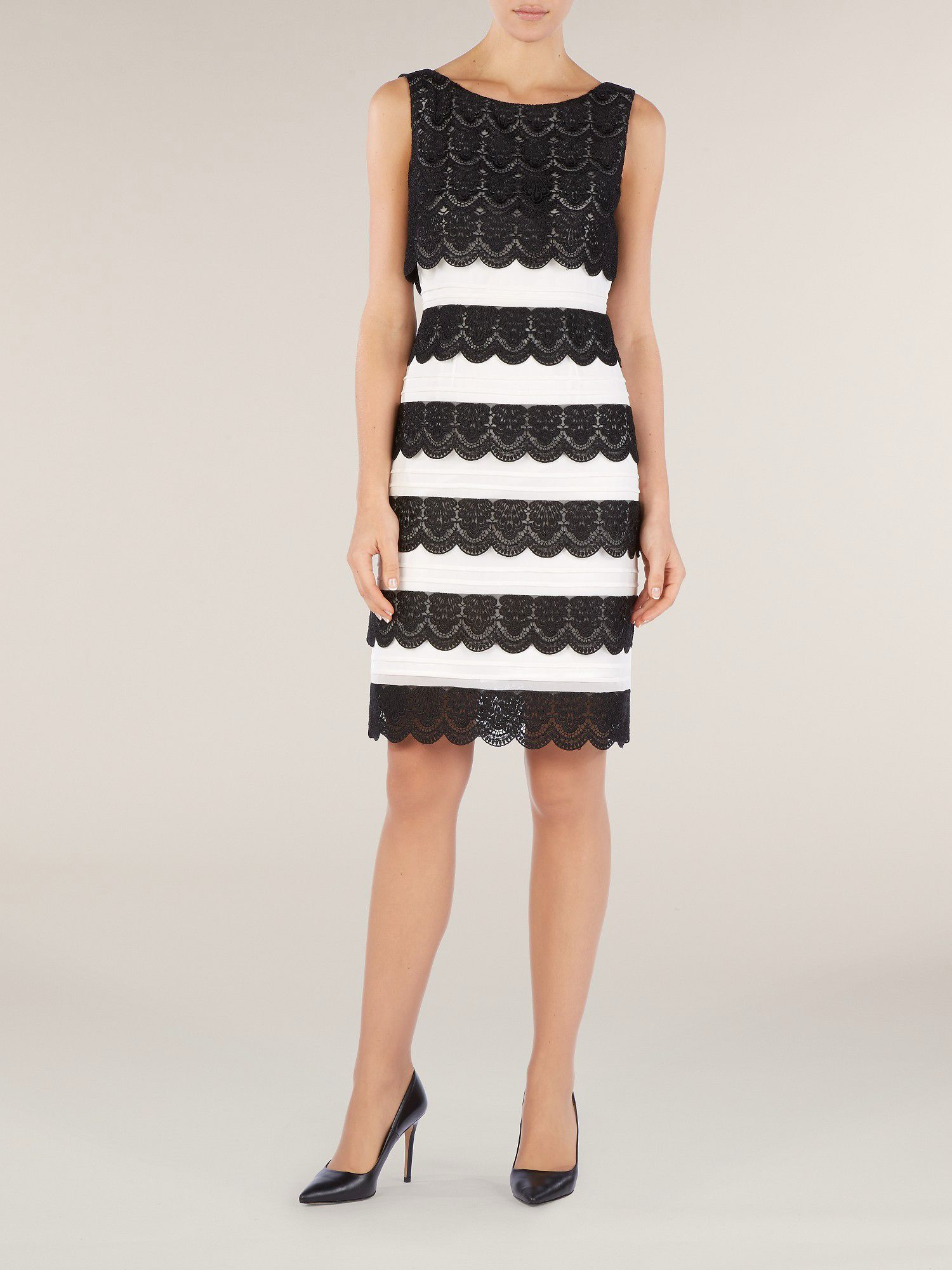 Monochrome lace layer dress