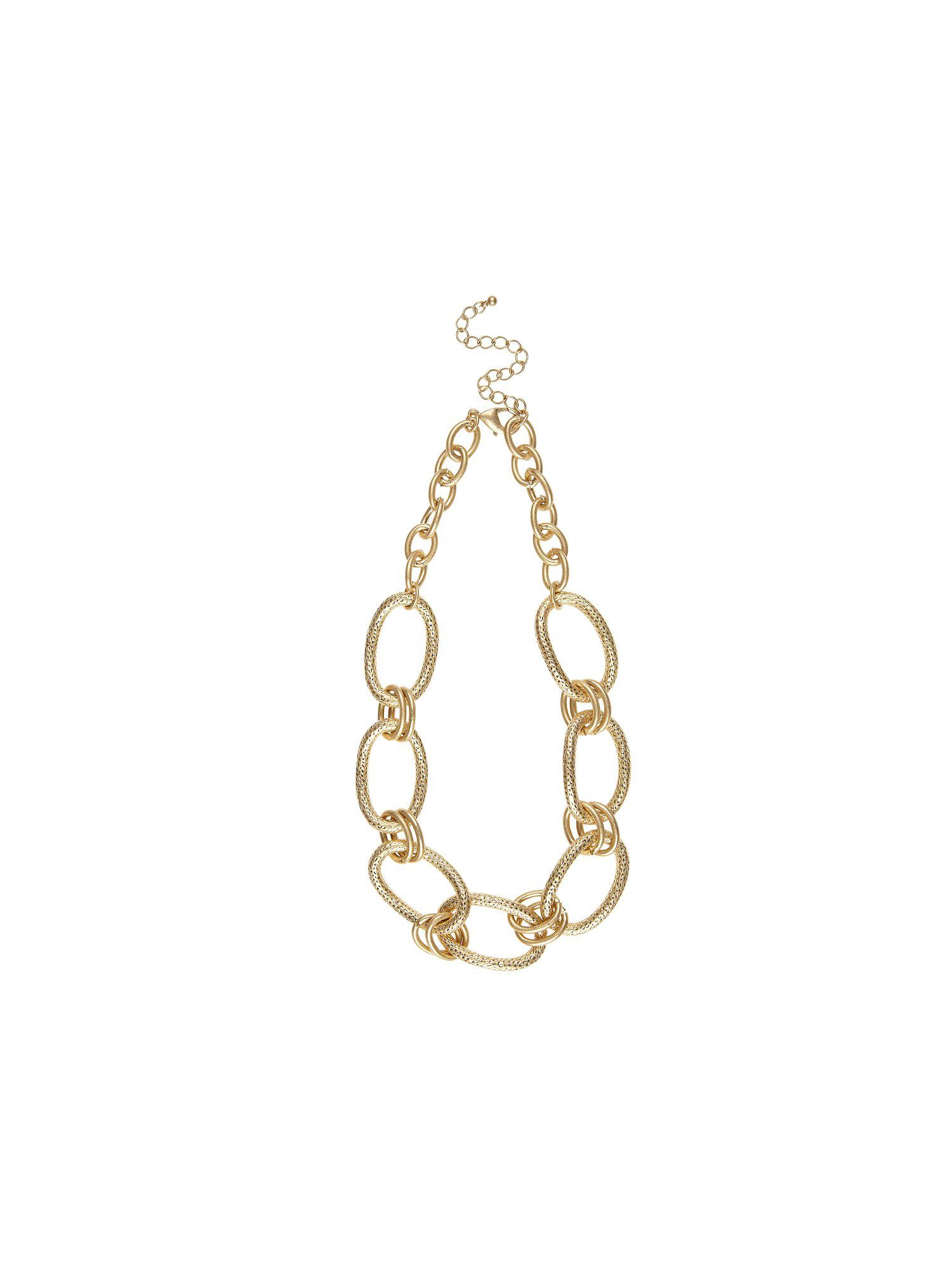 Oval textured chain necklace