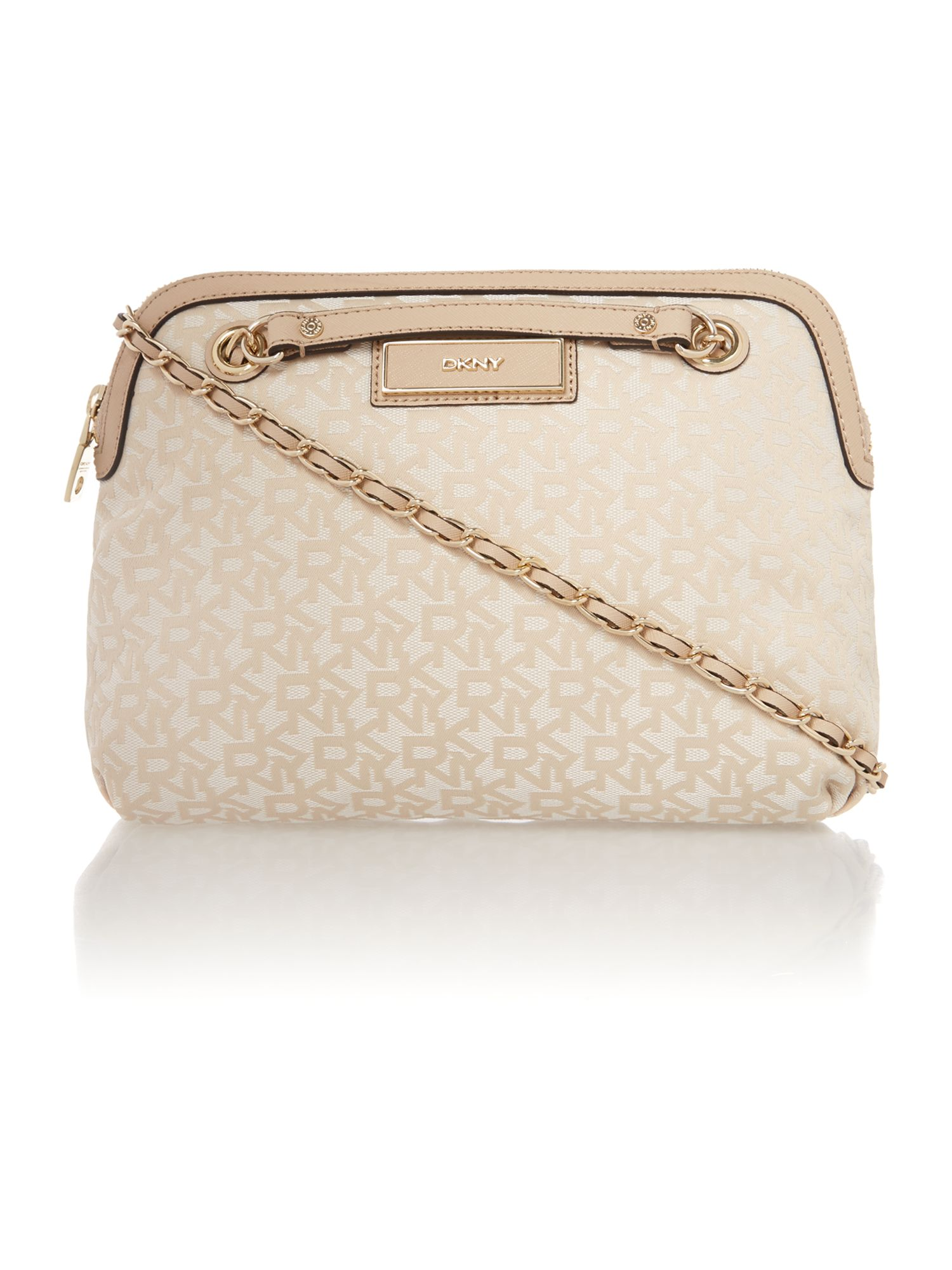 Saffiano neutral medium crossbody bag