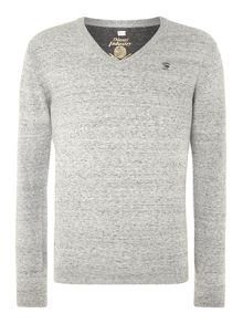 V neck knitted jumper