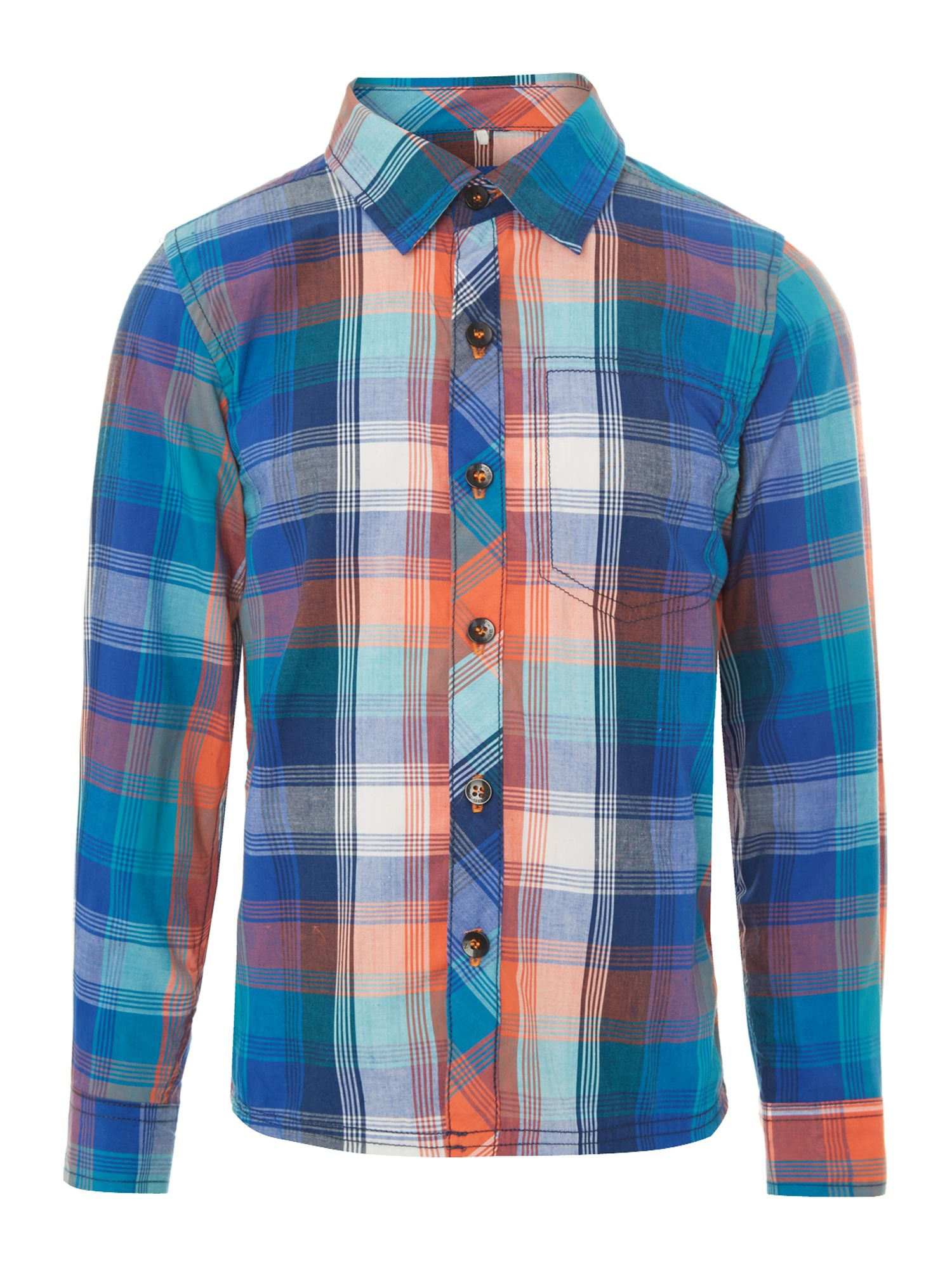 Boys large pocket check shirt
