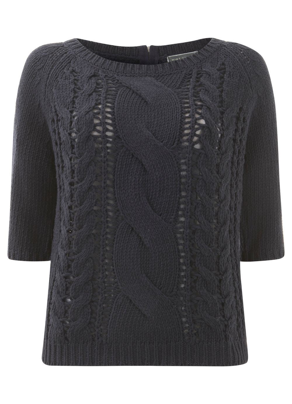 Navy Half Sleeve Cable Knit