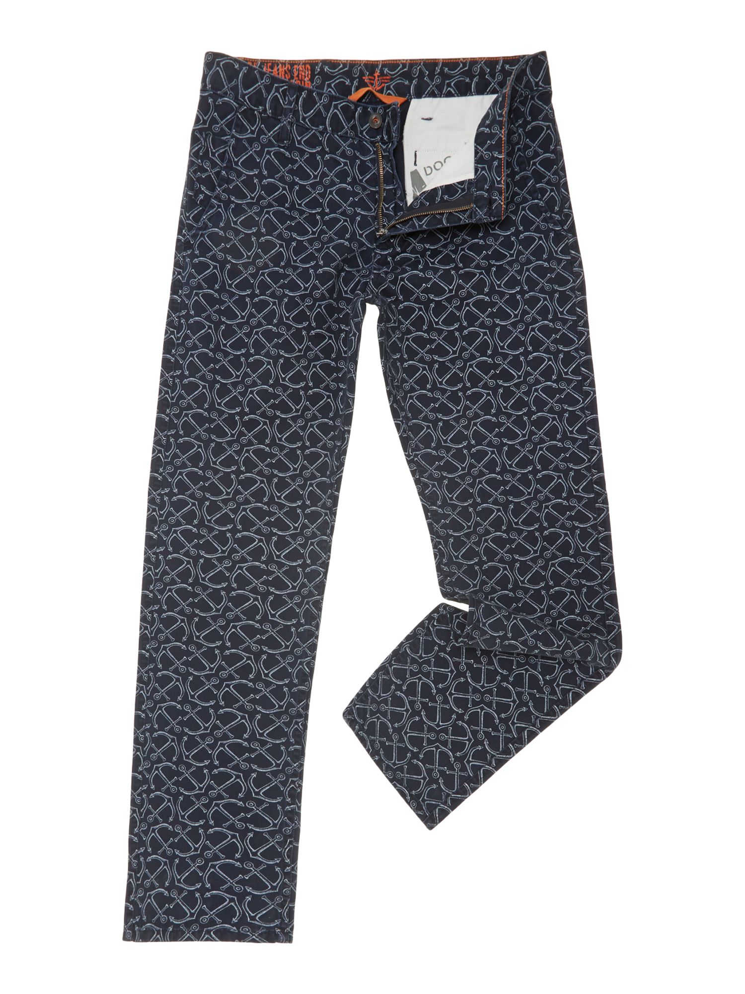 Alpha khaki anchor print slim chino