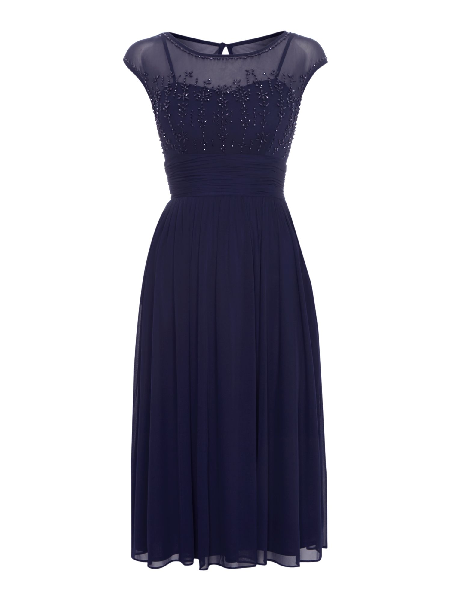 Midi Beaded Bodice Cap Sleeve Dress
