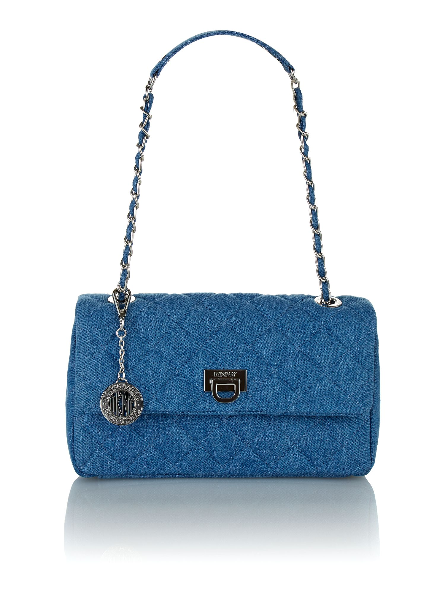 Quilted blue shoulder bag